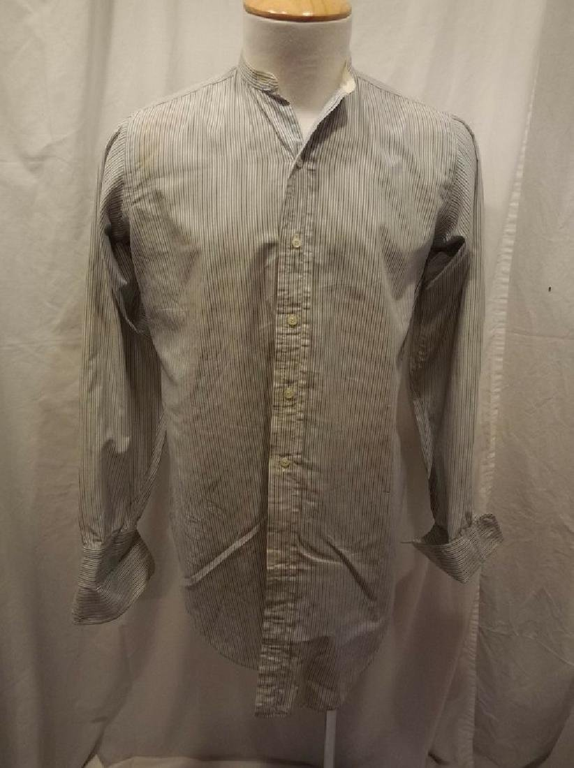 Men's Vintage Collarless Stripe Dress Shirt by Columbus