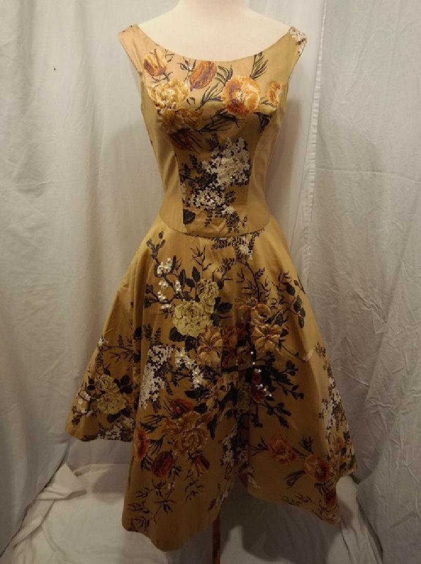 1950's Gold Floral Chintz Princess Dress with Quilting,