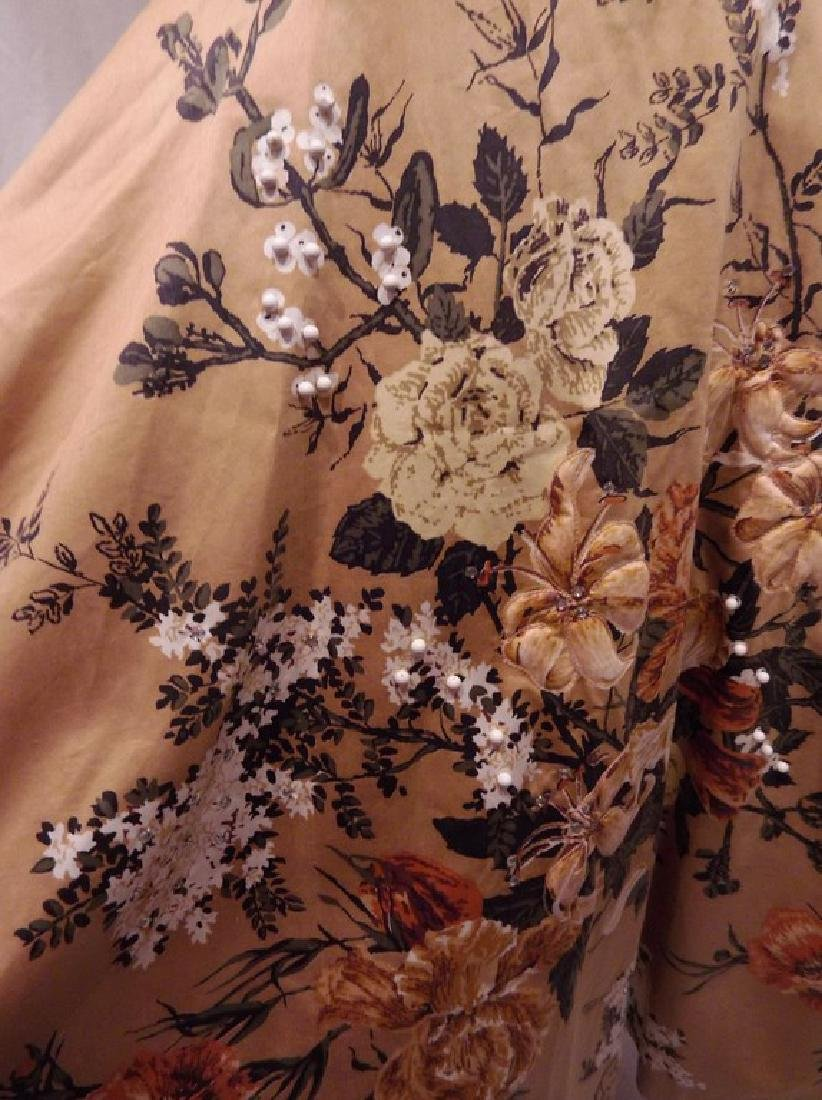 1950's Gold Floral Chintz Princess Dress with Quilting, - 3