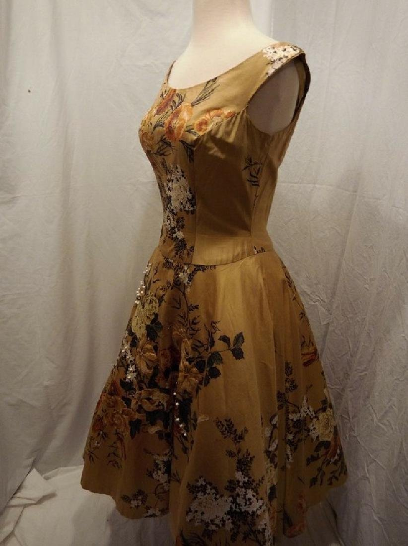 1950's Gold Floral Chintz Princess Dress with Quilting, - 5