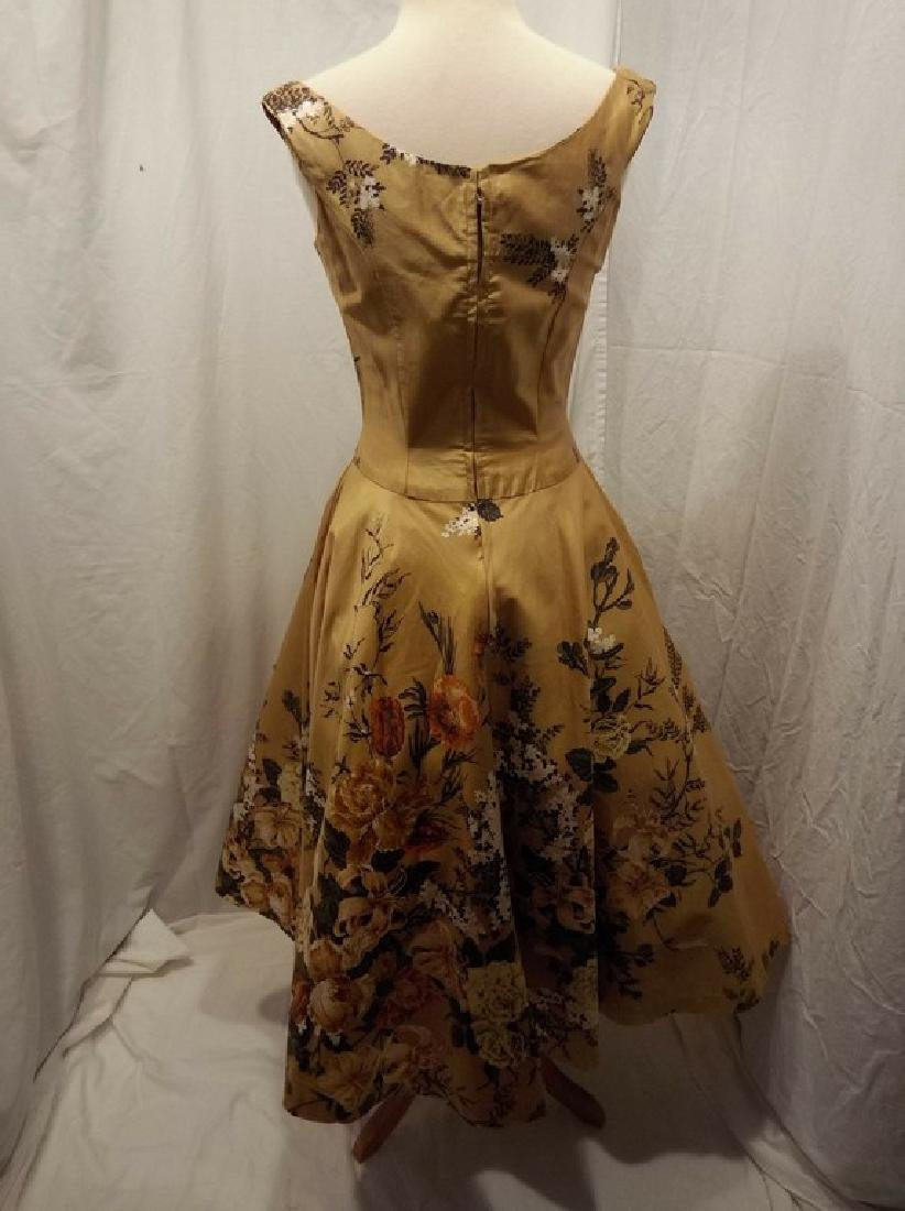 1950's Gold Floral Chintz Princess Dress with Quilting, - 6