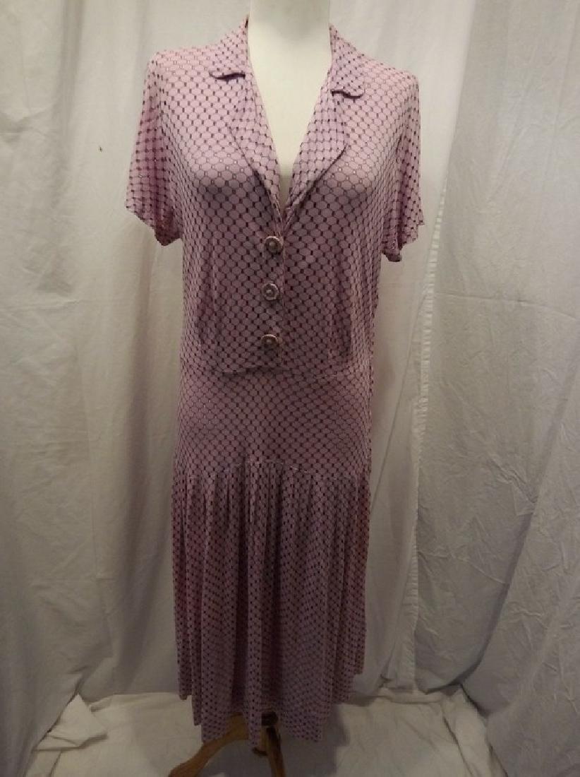 1930's Lilac poly blend Eyelet Shirt Waist Dress