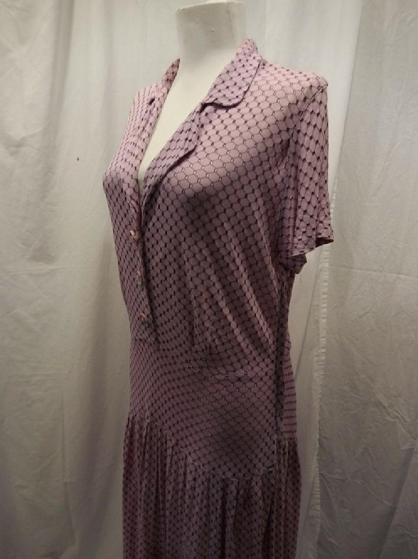 1930's Lilac poly blend Eyelet Shirt Waist Dress - 3