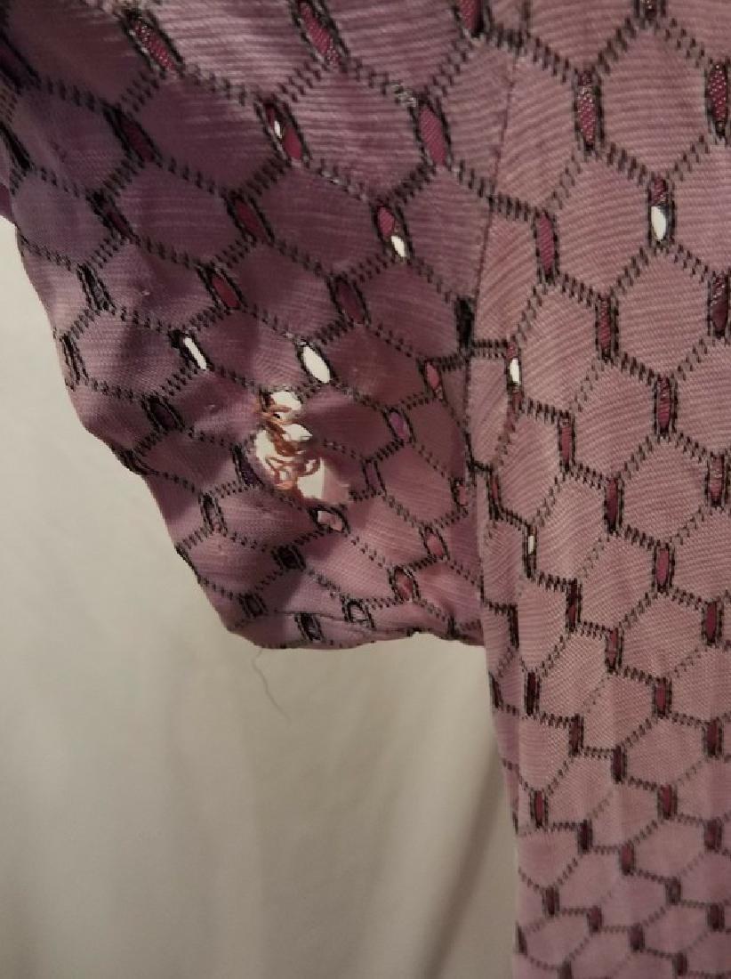 1930's Lilac poly blend Eyelet Shirt Waist Dress - 5