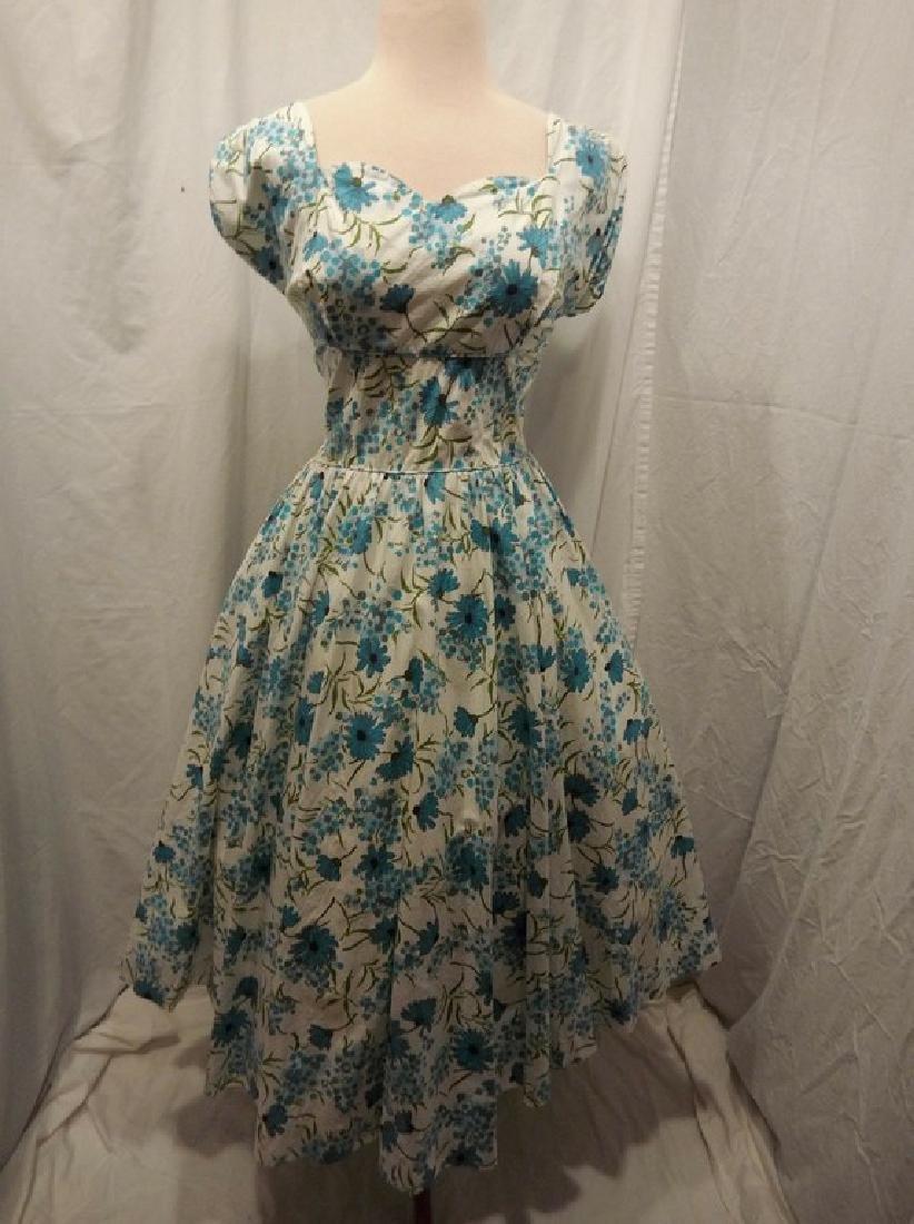 1950's Blue Floral Daisy Cotton Princess Dress by Sport