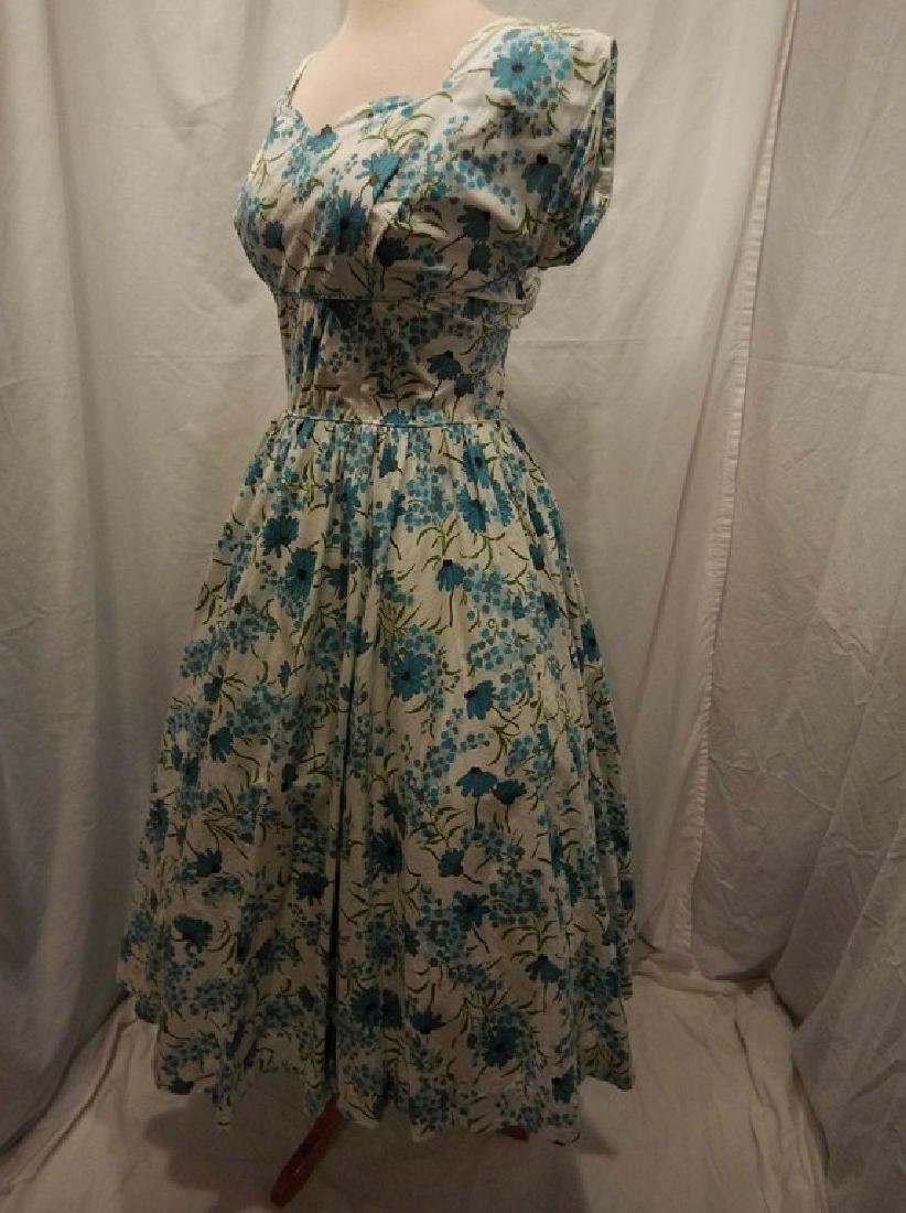 1950's Blue Floral Daisy Cotton Princess Dress by Sport - 3