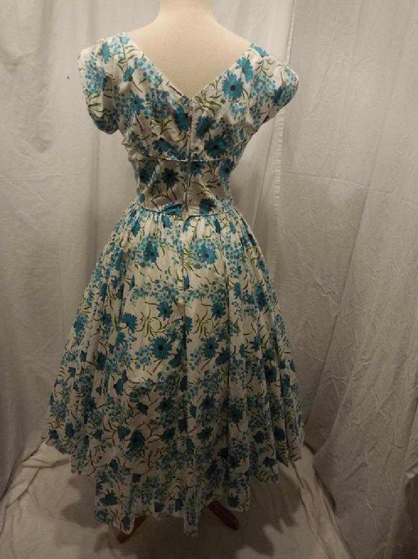 1950's Blue Floral Daisy Cotton Princess Dress by Sport - 4