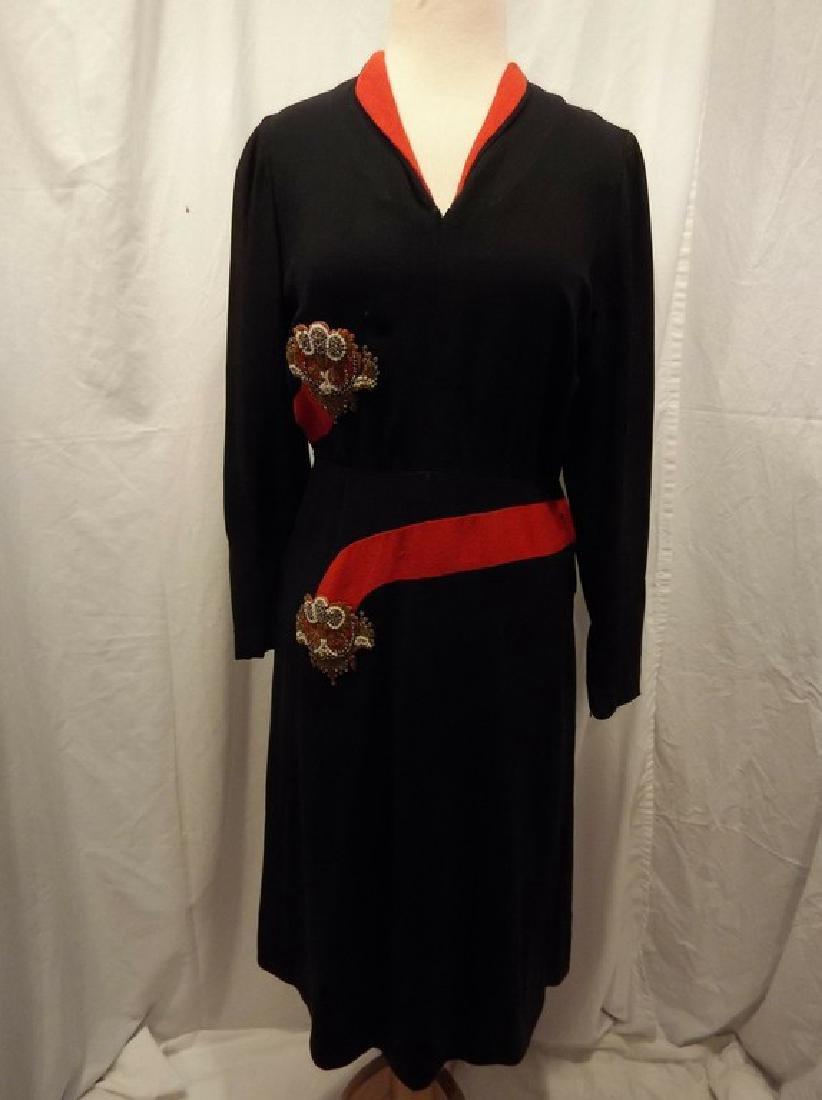 1940's Black & Red Rayon blend Sheath Dress