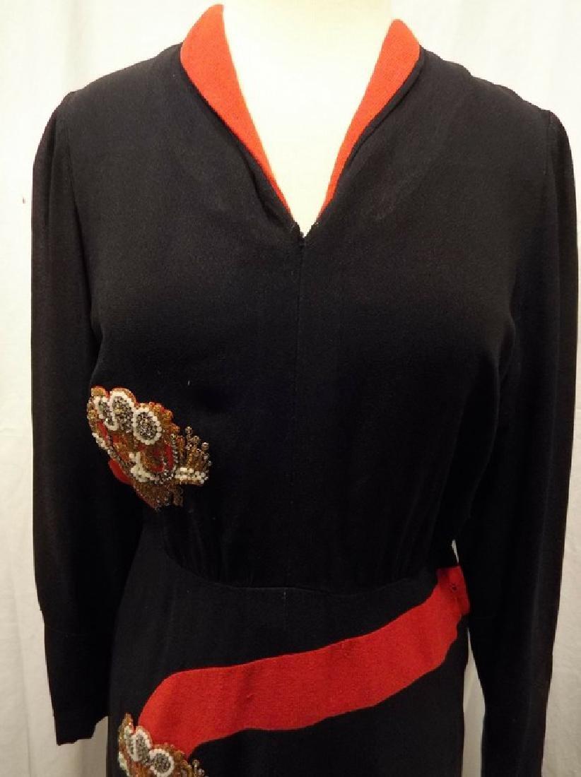 1940's Black & Red Rayon blend Sheath Dress - 2