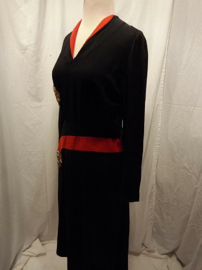 1940's Black & Red Rayon blend Sheath Dress - 5