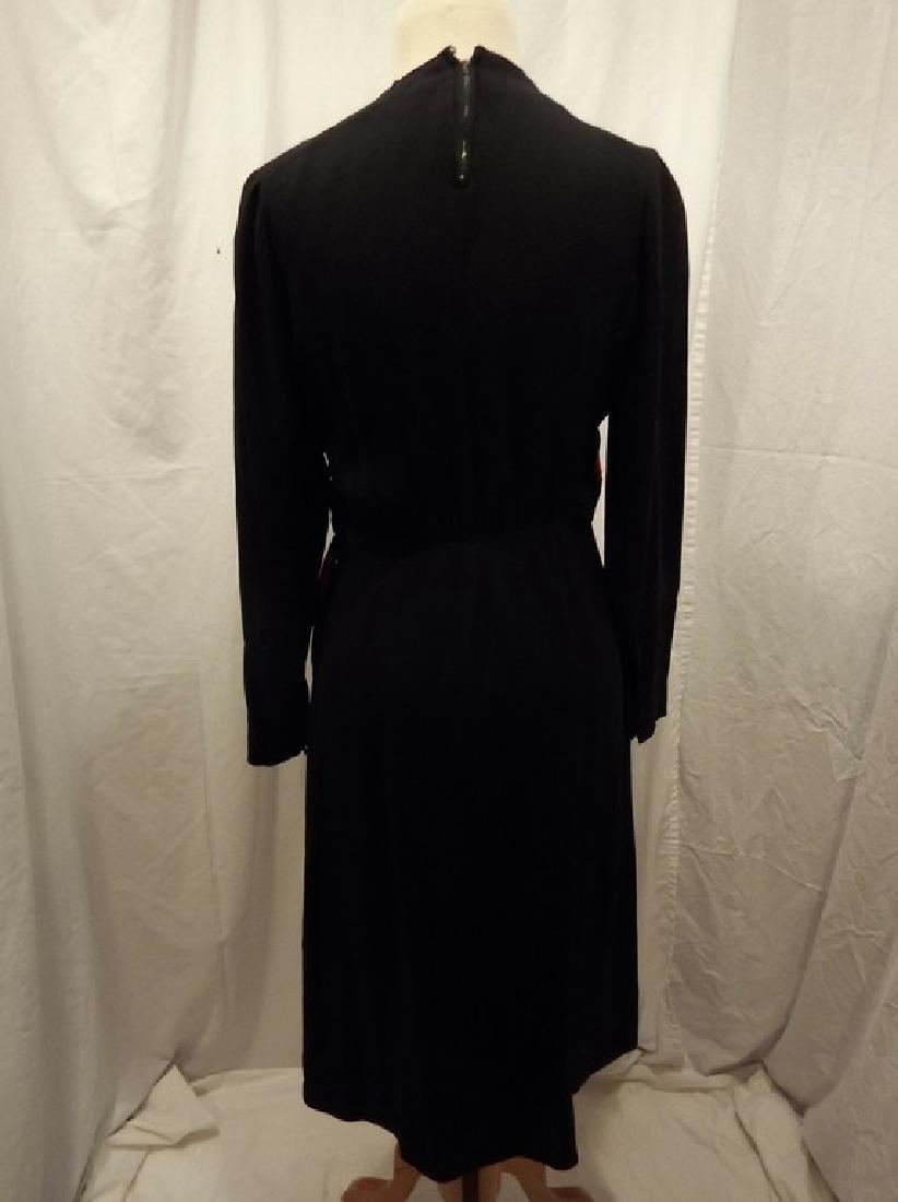 1940's Black & Red Rayon blend Sheath Dress - 6