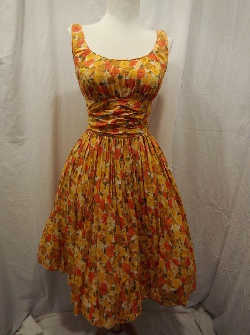 1950's Orange & Yellow Cotton Floral Party Pouf Dress