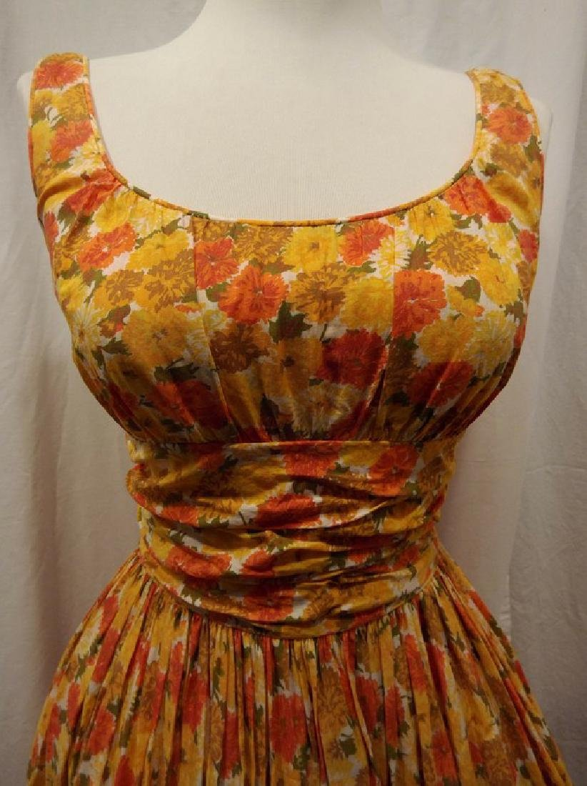 1950's Orange & Yellow Cotton Floral Party Pouf Dress - 2