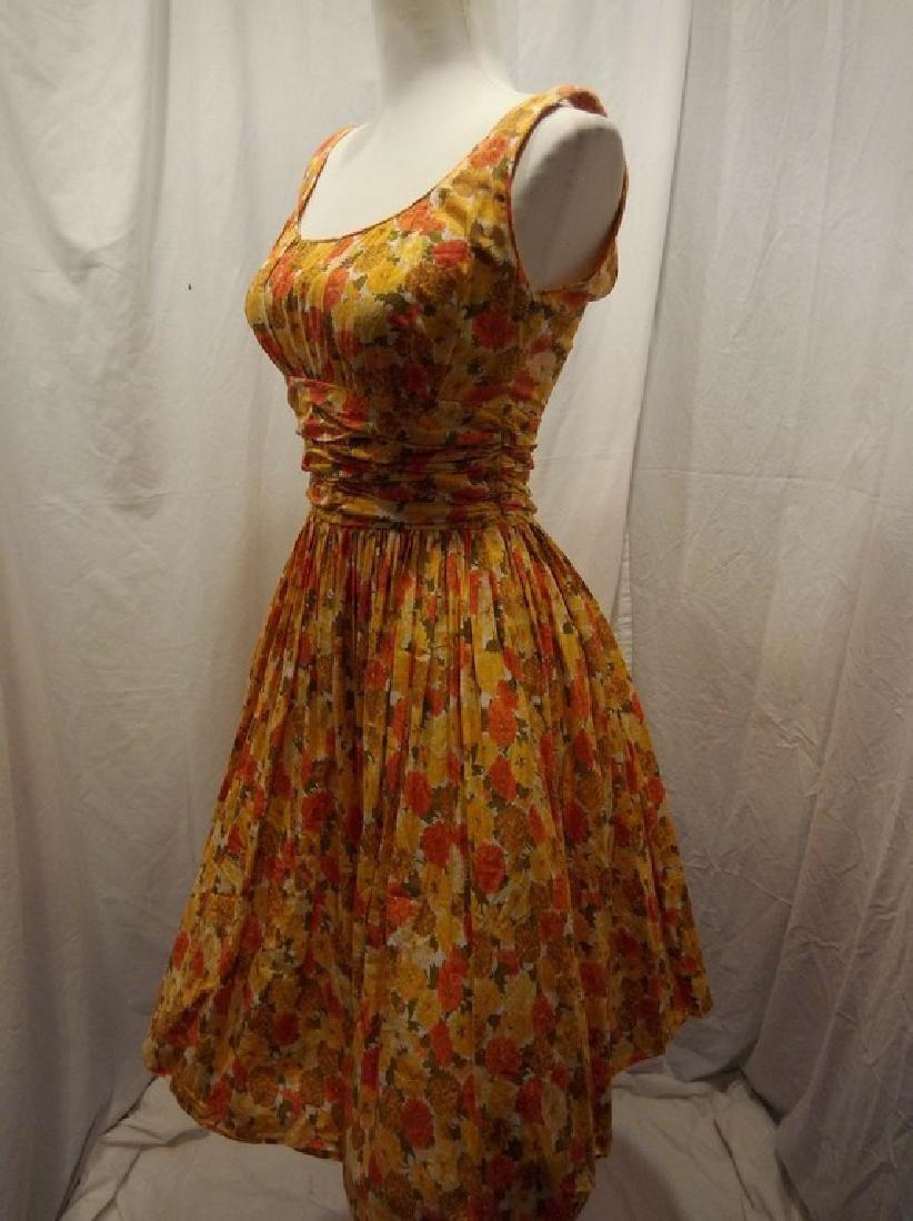 1950's Orange & Yellow Cotton Floral Party Pouf Dress - 3
