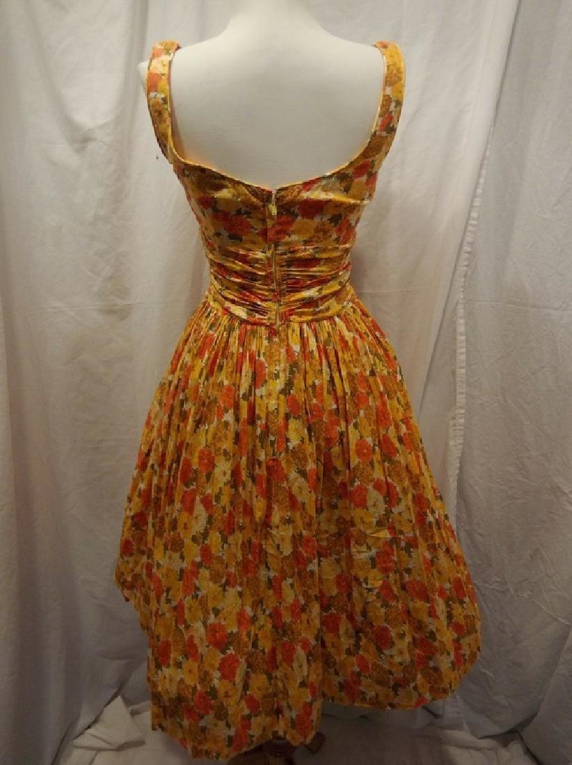 1950's Orange & Yellow Cotton Floral Party Pouf Dress - 4