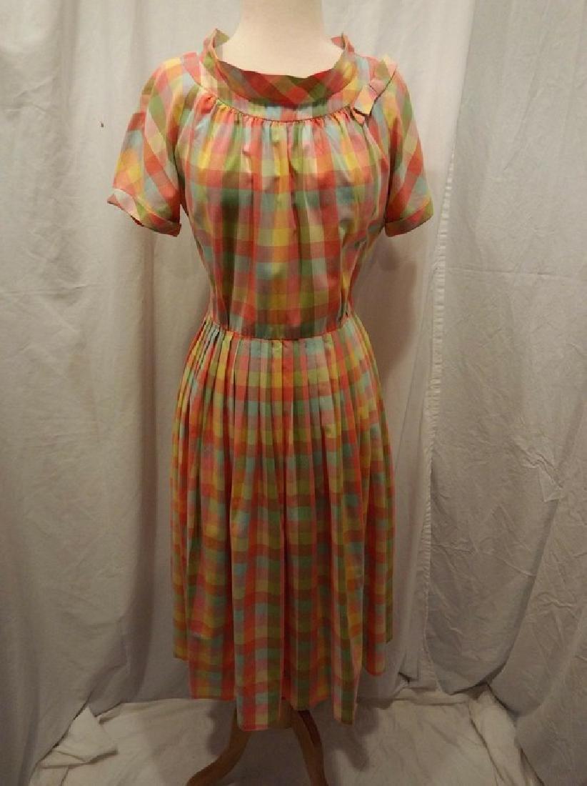 Late 1940's Rainbow Checkered Pouf Dress