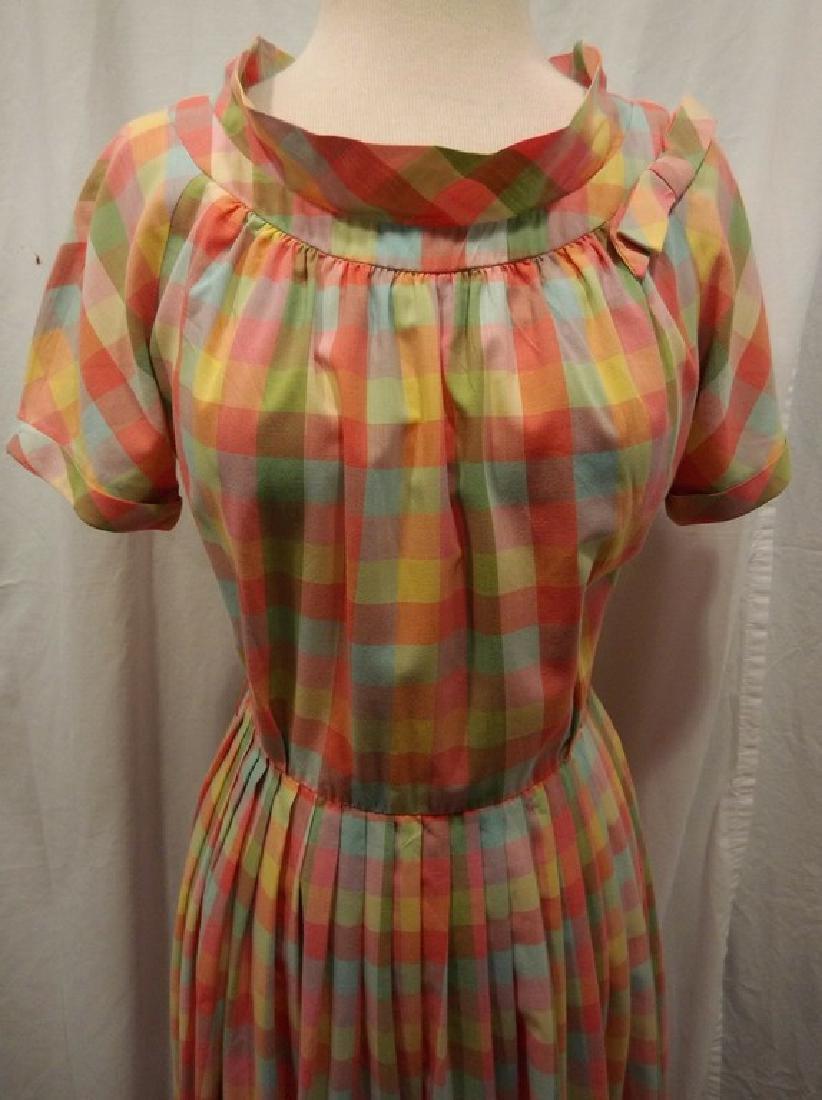 Late 1940's Rainbow Checkered Pouf Dress - 2