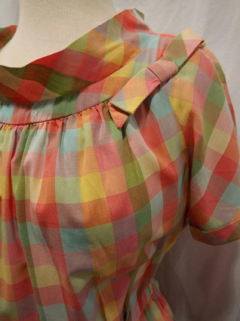 Late 1940's Rainbow Checkered Pouf Dress - 3