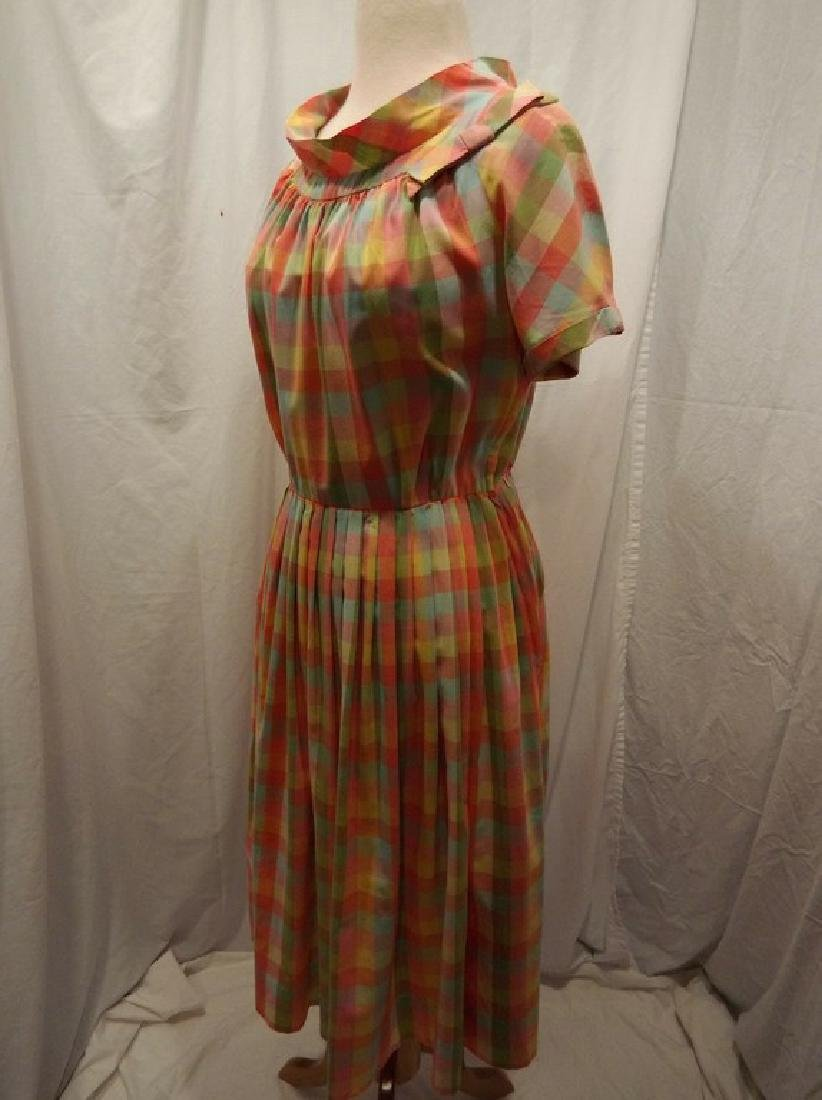 Late 1940's Rainbow Checkered Pouf Dress - 4