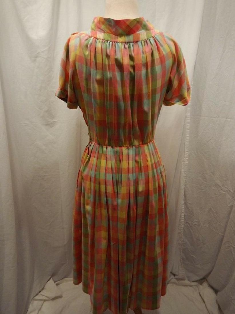Late 1940's Rainbow Checkered Pouf Dress - 5