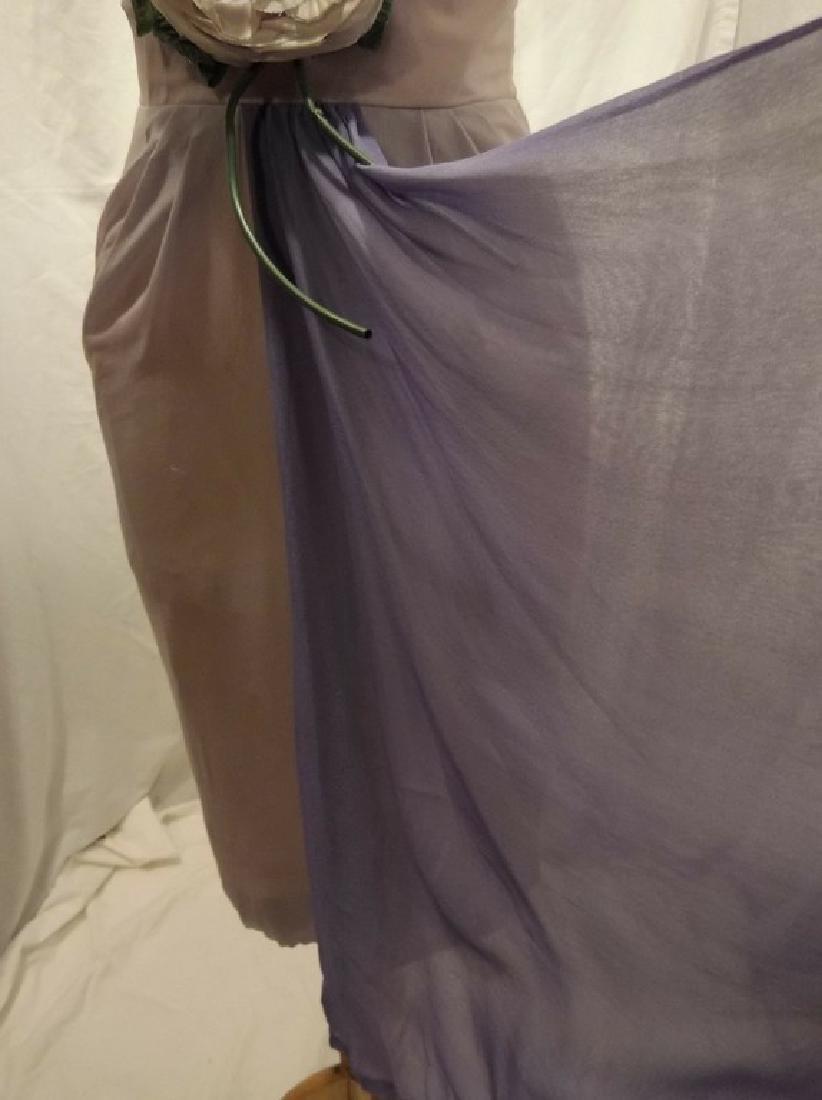 1960's Pale Pink & Purple Chiffon Wiggle Cocktail Dress - 9