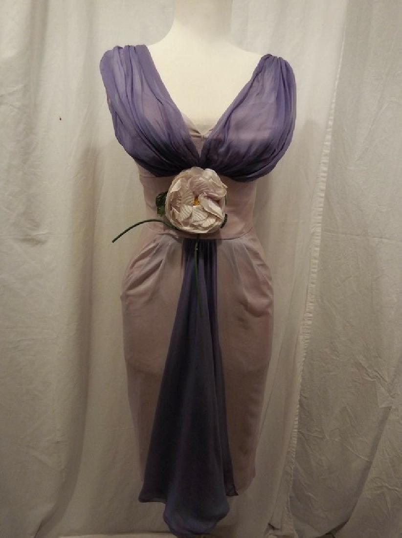 1960's Pale Pink & Purple Chiffon Wiggle Cocktail Dress