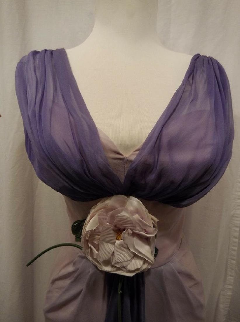 1960's Pale Pink & Purple Chiffon Wiggle Cocktail Dress - 2