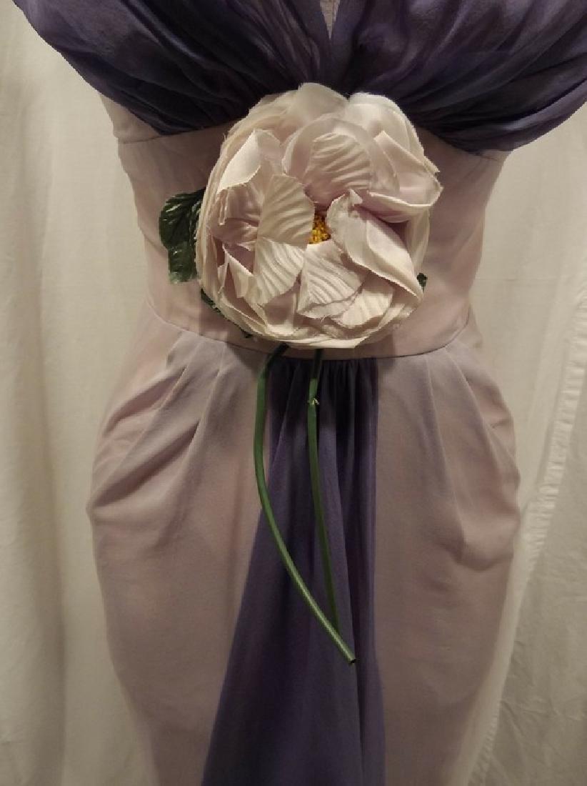 1960's Pale Pink & Purple Chiffon Wiggle Cocktail Dress - 3