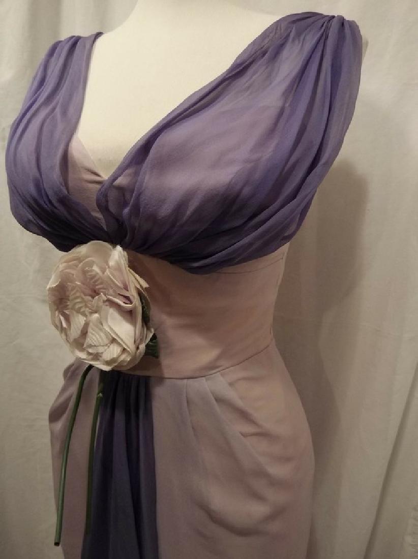 1960's Pale Pink & Purple Chiffon Wiggle Cocktail Dress - 4