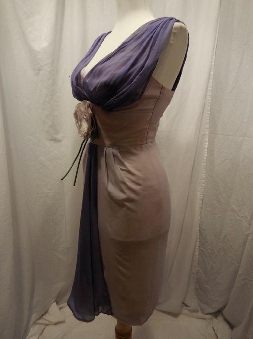 1960's Pale Pink & Purple Chiffon Wiggle Cocktail Dress - 5