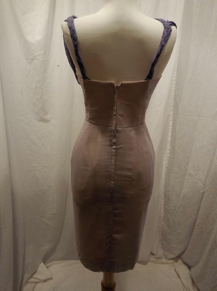 1960's Pale Pink & Purple Chiffon Wiggle Cocktail Dress - 6