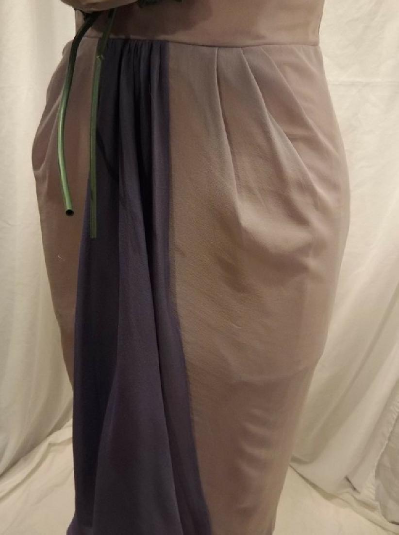 1960's Pale Pink & Purple Chiffon Wiggle Cocktail Dress - 8