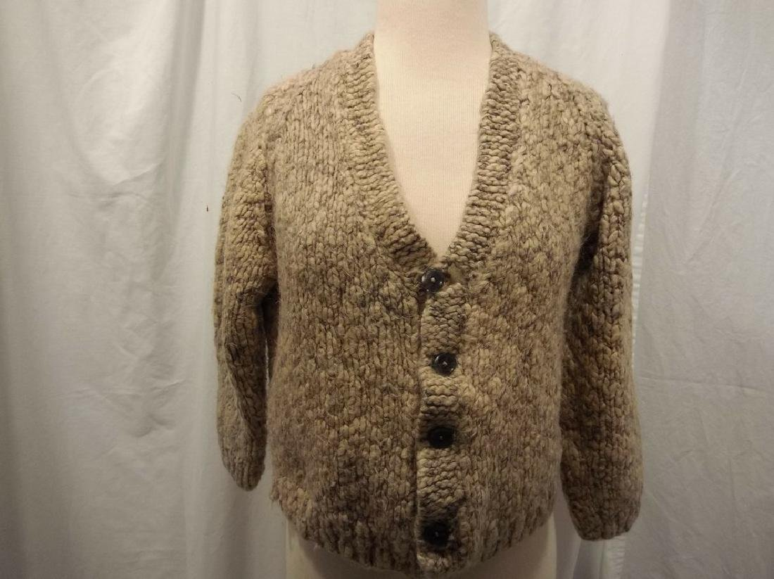 1950's Wool Hand Knit Ladies Cardigan Sweater - 2
