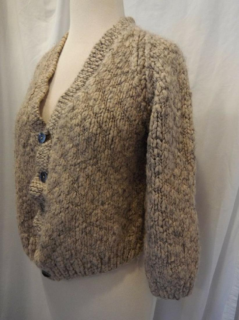 1950's Wool Hand Knit Ladies Cardigan Sweater - 3