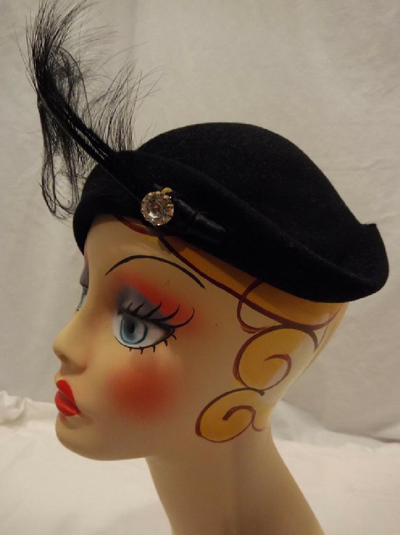 1950's Vintage Felt & Feather Hat with Rhinestone - 2