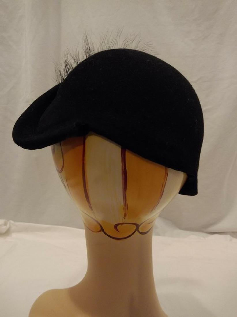 1950's Vintage Felt & Feather Hat with Rhinestone - 3