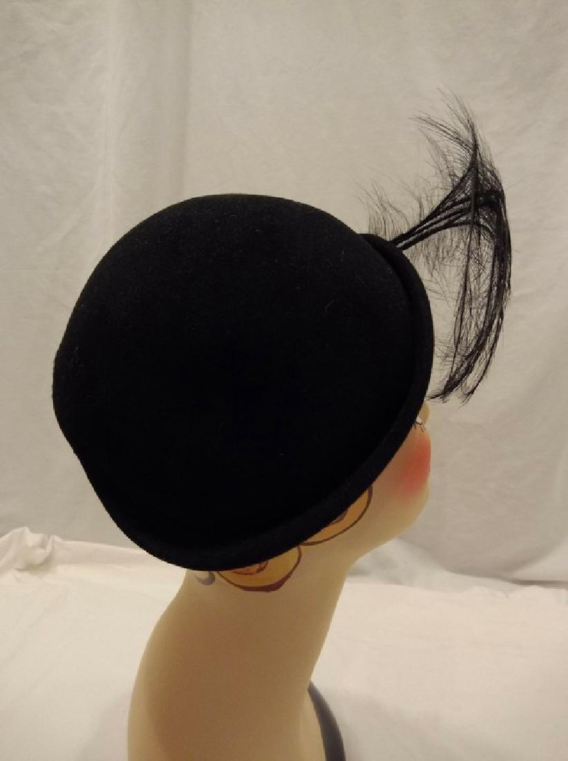 1950's Vintage Felt & Feather Hat with Rhinestone - 4
