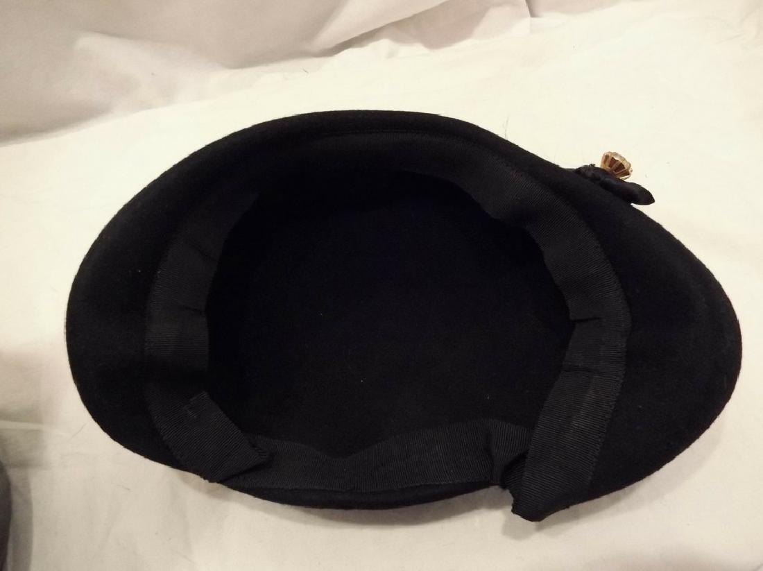 1950's Vintage Felt & Feather Hat with Rhinestone - 5