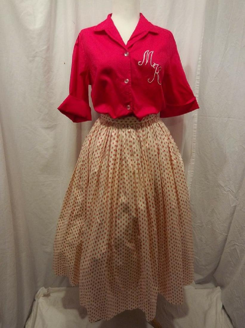 1950's 2 piece Cotton Monogram Short Sleeve Blouse and