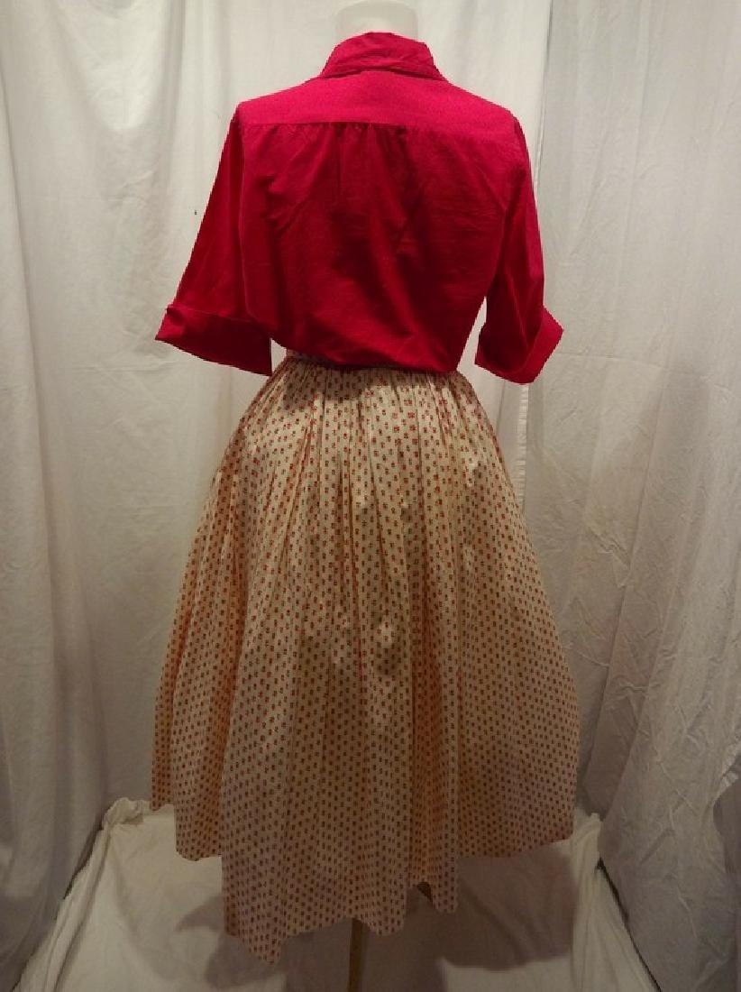 1950's 2 piece Cotton Monogram Short Sleeve Blouse and - 5