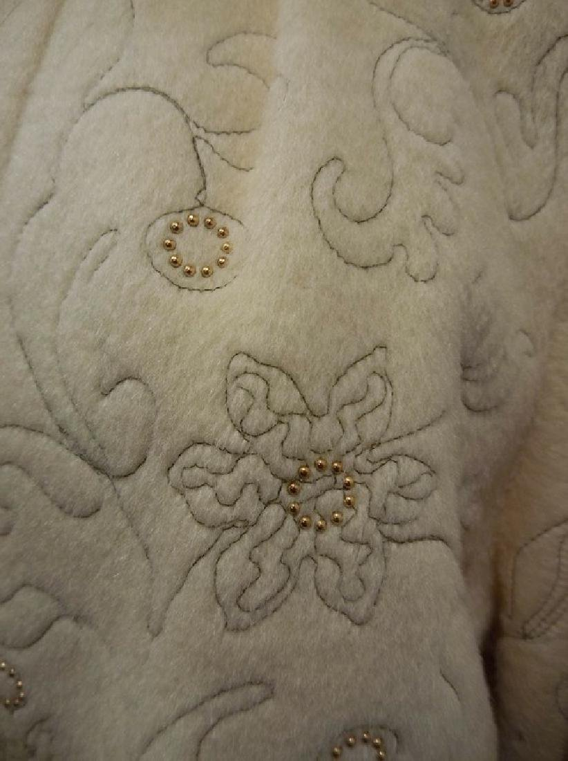 1960's Wool Embroidered & Beaded Clutch Swing Jacket, - 4