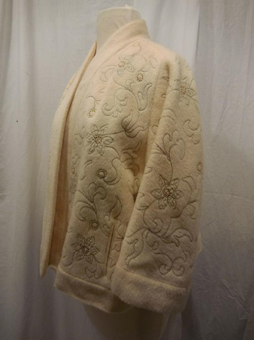 1960's Wool Embroidered & Beaded Clutch Swing Jacket, - 5