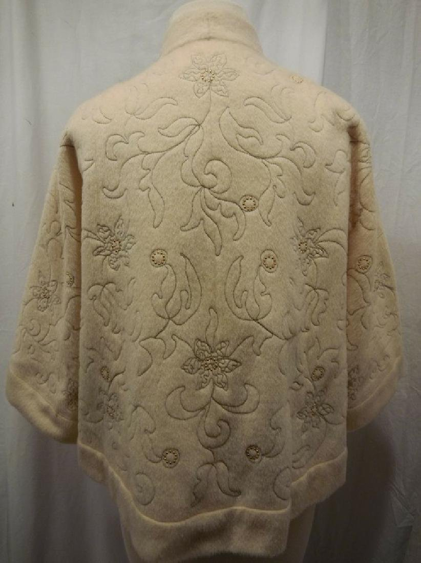 1960's Wool Embroidered & Beaded Clutch Swing Jacket, - 6