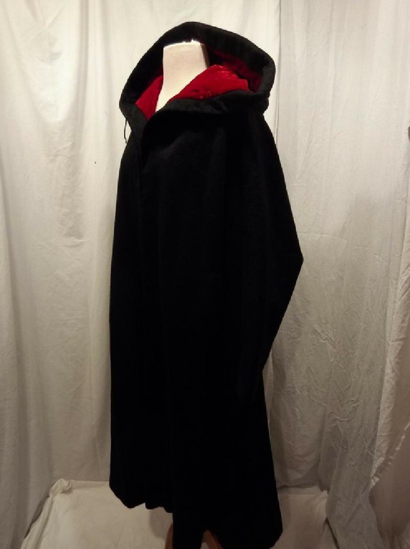 1960's Ladies Swing Clutch Coat in Black Wool with Red