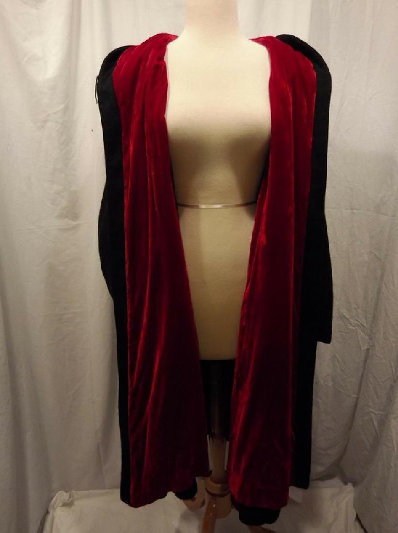 1960's Ladies Swing Clutch Coat in Black Wool with Red - 5