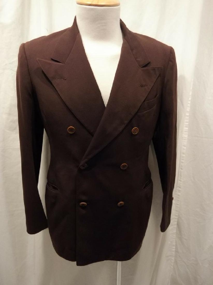 Men's Vintage 1940's Gabardine Suit Coat, double
