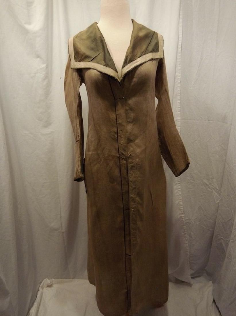 Early Ladies Linen Car Coat, full length, shawl collar