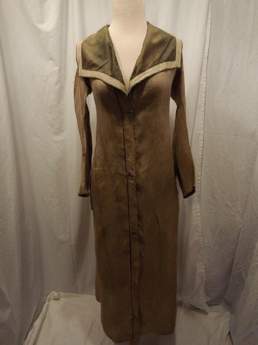 Early Ladies Linen Car Coat, full length, shawl collar - 2