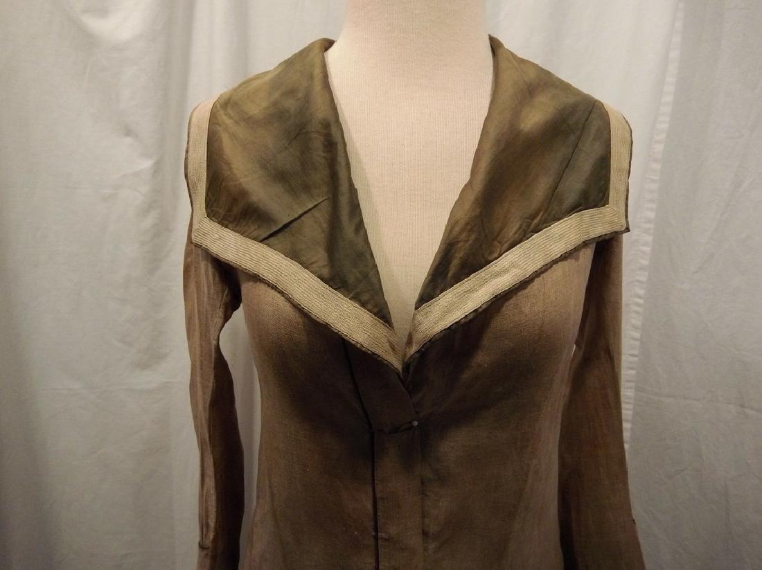 Early Ladies Linen Car Coat, full length, shawl collar - 3
