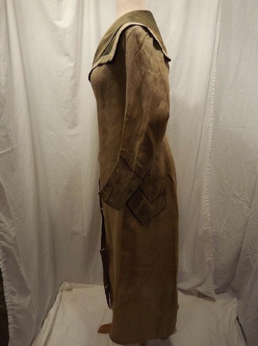 Early Ladies Linen Car Coat, full length, shawl collar - 4